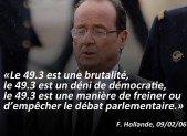 «Le 49.3 est un déni de démocratie», M Hollande, 9 Février 2006